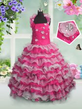 Perfect Ruffled Hot Pink Sleeveless Organza Lace Up Kids Formal Wear for Party and Wedding Party
