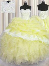 Excellent Light Yellow Sweetheart Lace Up Beading and Appliques and Ruffles and Pick Ups Sweet 16 Dresses Sleeveless