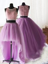 Cheap Three Piece Scoop Organza and Tulle and Lace Sleeveless With Train Sweet 16 Quinceanera Dress Brush Train and Beading and Lace and Ruffles