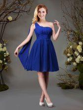 High Class One Shoulder Sleeveless Zipper Quinceanera Dama Dress Royal Blue Chiffon