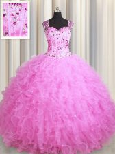 Customized See Through Zipper Up Rose Pink Tulle Zipper Square Sleeveless Floor Length Ball Gown Prom Dress Beading and Ruffles