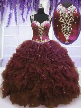 Straps Burgundy Sleeveless Floor Length Beading and Ruffles Zipper Vestidos de Quinceanera