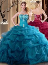 Hot Selling Floor Length Ball Gowns Sleeveless Teal 15th Birthday Dress Lace Up