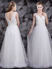 Fine Floor Length White Homecoming Dress Tulle Sleeveless Beading and Appliques