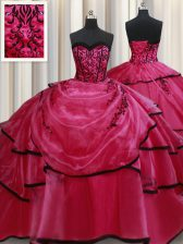Sleeveless Beading and Appliques and Ruffled Layers Lace Up Vestidos de Quinceanera
