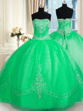 Stunning Green Tulle Lace Up Strapless Sleeveless Floor Length Quinceanera Dress Beading and Embroidery