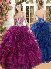 Organza Sweetheart Sleeveless Lace Up Beading and Ruffles and Ruffled Layers 15th Birthday Dress in Burgundy
