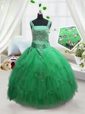 Sleeveless Floor Length Beading and Ruffles Lace Up Pageant Gowns For Girls with Turquoise