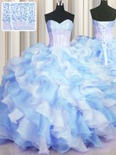 High Class Two Tone Visible Boning Blue And White Organza Lace Up 15 Quinceanera Dress Sleeveless Floor Length Beading and Ruffles