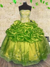 Olive Green Organza Lace Up Quinceanera Dresses Sleeveless Floor Length Beading and Embroidery
