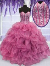 Top Selling Rose Pink Sleeveless Floor Length Beading and Ruffles Lace Up Quinceanera Dress