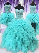 New Style Four Piece Aqua Blue Ball Gowns Organza Sweetheart Sleeveless Ruffles and Sequins Floor Length Lace Up Quinceanera Dress