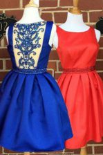 Affordable Royal Blue A-line Beading Homecoming Dress Side Zipper Satin Sleeveless Knee Length