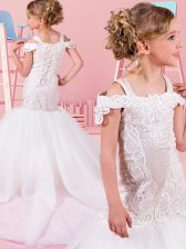 Off the Shoulder White Sleeveless Floor Length Lace Lace Up Flower Girl Dresses for Less