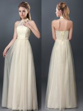Latest Champagne Halter Top Neckline Lace and Appliques Quinceanera Court Dresses Sleeveless Lace Up
