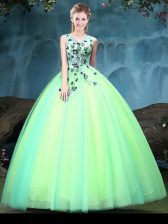 Multi-color Ball Gowns Tulle V-neck Sleeveless Appliques Floor Length Lace Up Ball Gown Prom Dress