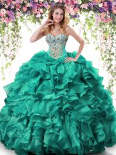Edgy Turquoise Sweetheart Neckline Beading and Ruffles Vestidos de Quinceanera Sleeveless Lace Up