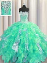 Hot Sale Organza and Sequined Sweetheart Sleeveless Lace Up Beading and Ruffles and Sequins Quinceanera Dresses in Turquoise