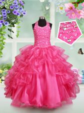 Super Halter Top Sleeveless Pageant Gowns For Girls Floor Length Beading and Ruffled Layers Hot Pink Organza
