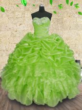 Pretty Sweetheart Lace Up Beading and Appliques and Ruffles and Ruching Quinceanera Gown Sleeveless