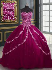 Custom Design With Train Burgundy and Fuchsia Sweet 16 Dresses Sweetheart Sleeveless Brush Train Lace Up