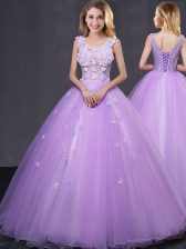 Lavender Sleeveless Lace and Appliques Floor Length Quince Ball Gowns