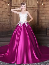 Fuchsia Scoop Neckline Appliques Quince Ball Gowns Sleeveless Lace Up