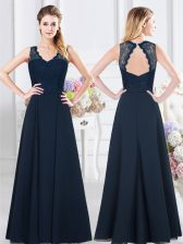 Backless V-neck Sleeveless Quinceanera Court Dresses Floor Length Lace and Ruching Navy Blue Chiffon