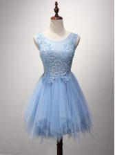 Classical Lavender Prom Dress Prom with Beading and Appliques Scoop Sleeveless Zipper