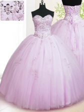 Lilac Ball Gowns Beading and Appliques Quinceanera Gowns Lace Up Tulle Sleeveless Floor Length