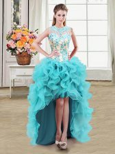 Free and Easy See Through Scoop Sleeveless Zipper Dress for Prom Aqua Blue Organza