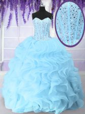 Blue Ball Gowns Organza Sweetheart Sleeveless Beading and Ruffles Floor Length Lace Up Quince Ball Gowns
