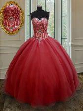 Customized Floor Length Red Vestidos de Quinceanera Organza Sleeveless Beading