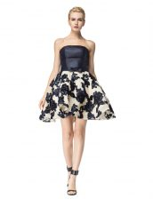 Black Prom Dresses Prom and Party with Embroidery Strapless Sleeveless Lace Up