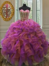 On Sale Sweetheart Sleeveless Lace Up Quinceanera Dress Multi-color Organza