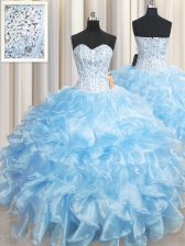 Attractive Baby Blue Sleeveless Organza Lace Up Vestidos de Quinceanera for Military Ball and Sweet 16 and Quinceanera