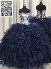 Cheap Sleeveless Ruffled Layers and Sequins Lace Up Sweet 16 Quinceanera Dress