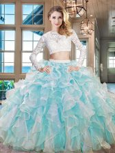 Scoop Floor Length Aqua Blue Quinceanera Dresses Organza Long Sleeves Beading and Lace and Ruffles
