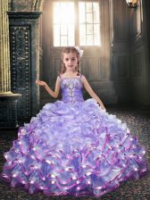 Sleeveless Lace Up Floor Length Beading and Appliques Flower Girl Dresses