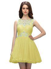 Scoop Light Yellow Zipper Prom Dress Beading Sleeveless Mini Length