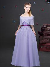 Smart Lavender Off The Shoulder Zipper Ruching and Belt Quinceanera Dama Dress Half Sleeves