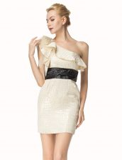 One Shoulder Champagne Sleeveless Satin Zipper Dress for Prom for Party