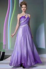 Sumptuous One Shoulder Beading and Ruching Prom Party Dress Lavender Side Zipper Sleeveless Floor Length