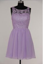 Latest Scoop Lavender A-line Lace Evening Dress Zipper Chiffon and Lace Sleeveless Knee Length