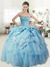 Custom Made Baby Blue Sleeveless Floor Length Beading and Pick Ups Lace Up 15 Quinceanera Dress