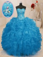 Great Sleeveless Floor Length Beading and Ruffles Lace Up 15th Birthday Dress with Baby Blue
