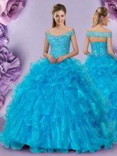 Baby Blue Ball Gowns Off The Shoulder Sleeveless Organza Floor Length Lace Up Beading and Lace and Ruffles Quince Ball Gowns