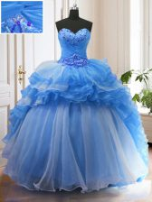 Flare Ruffled With Train Ball Gowns Sleeveless Blue Quinceanera Gown Sweep Train Lace Up