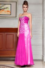 Latest Fuchsia Side Zipper Sweetheart Beading and Ruching Prom Evening Gown Chiffon Sleeveless