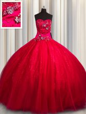 Top Selling Sequined Beading and Appliques Vestidos de Quinceanera Red Lace Up Sleeveless Floor Length